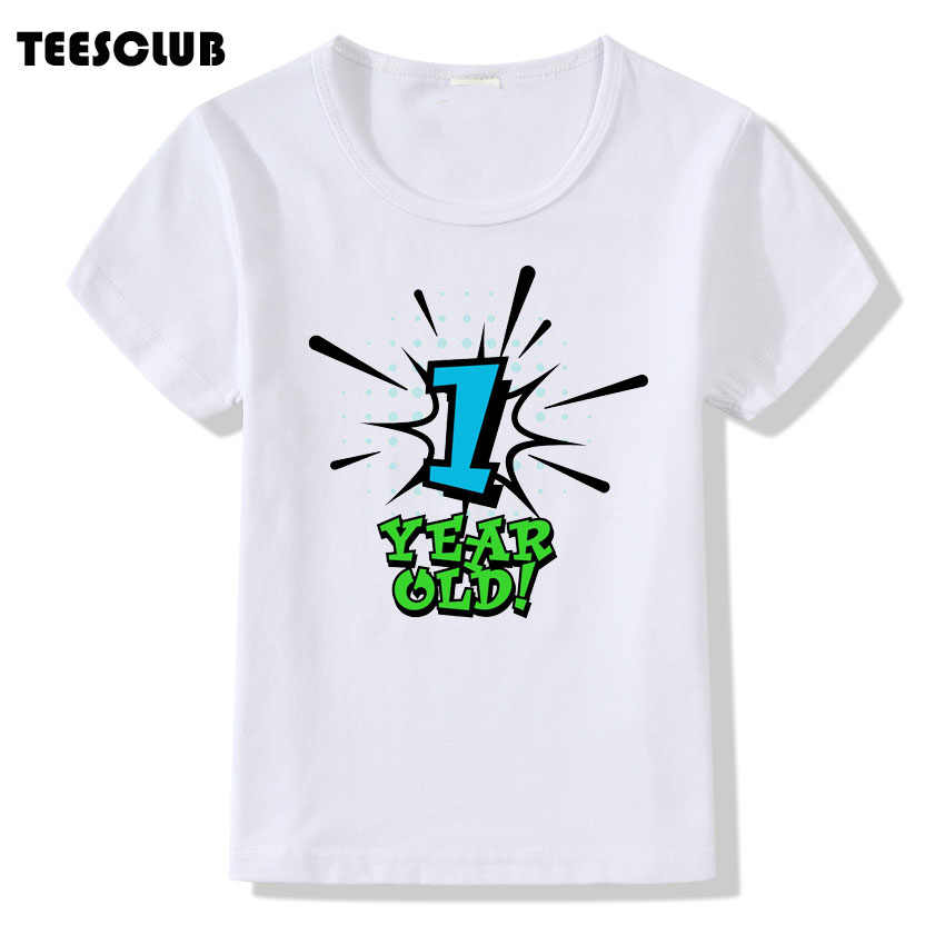 Children Birthday Present Number 1 5 Years Old Print T Shirt For Kids Casual Summer
