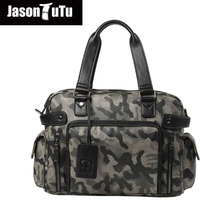 JASON TUTU Men TOP PU Leather Handbag Casual Totes Travel Weekender Duffel Bag Camouflage 2017 New Listing free shipping B447(China)
