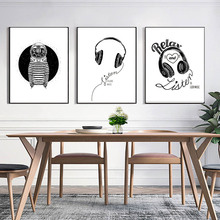 Black And Write Rock & Roll Music Headphones Space Station Relax And Listen Nordic Modern Canvas Painting Art Poster(China)