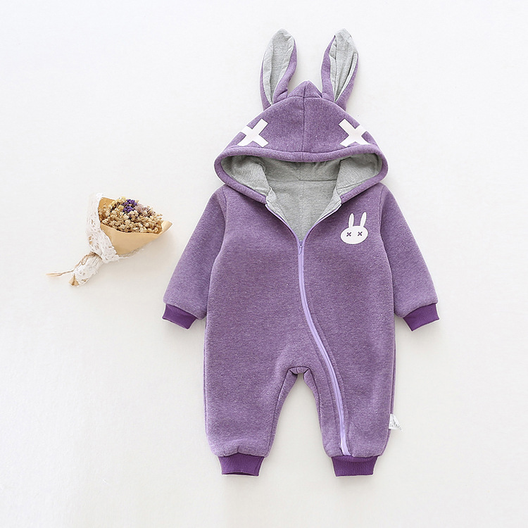 baby romper boys girls winter costume hooded zipper long sleeve Cross cartoon Rabbit ear fleece thick clothes children clothing<br><br>Aliexpress