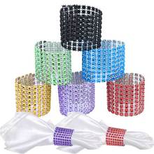 Home Kitchen 10pcs 8 Row Mesh Bow Covers With Closure Bling Napkin Ring Diamond Rhinestone Wedding Chair Sashes Bows  LS