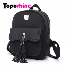 Toposhine 2017 Tassel Women Backpacks Fashion PU Leather Lady Backpacks High Quality Fashion Girls Backpack Cute School Bag 1588(China)