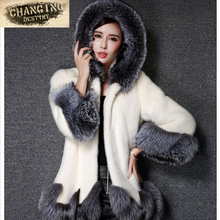 2017 New Women's Fashion Rabbit Fur Coat Hooded Artificial Fur Coat Girl's with White Black Imitation Fur Coat Plus Size S-4XL(China)
