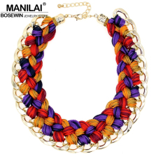 MANILAI Handmade Knitting wool Crochet Chunky Necklace Women Statement Jewelry Big Chokers Maxi Collar Necklaces Jewelry(China)