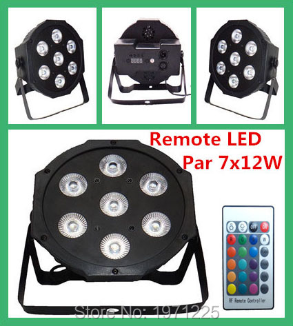 7X12W rgbw 4IN1 Par Light LED Wireless 4in1 LED SlimPar 7x12W RGBW 4IN1 Wash Light Stage Uplighting No NoiseFast Shipping<br>