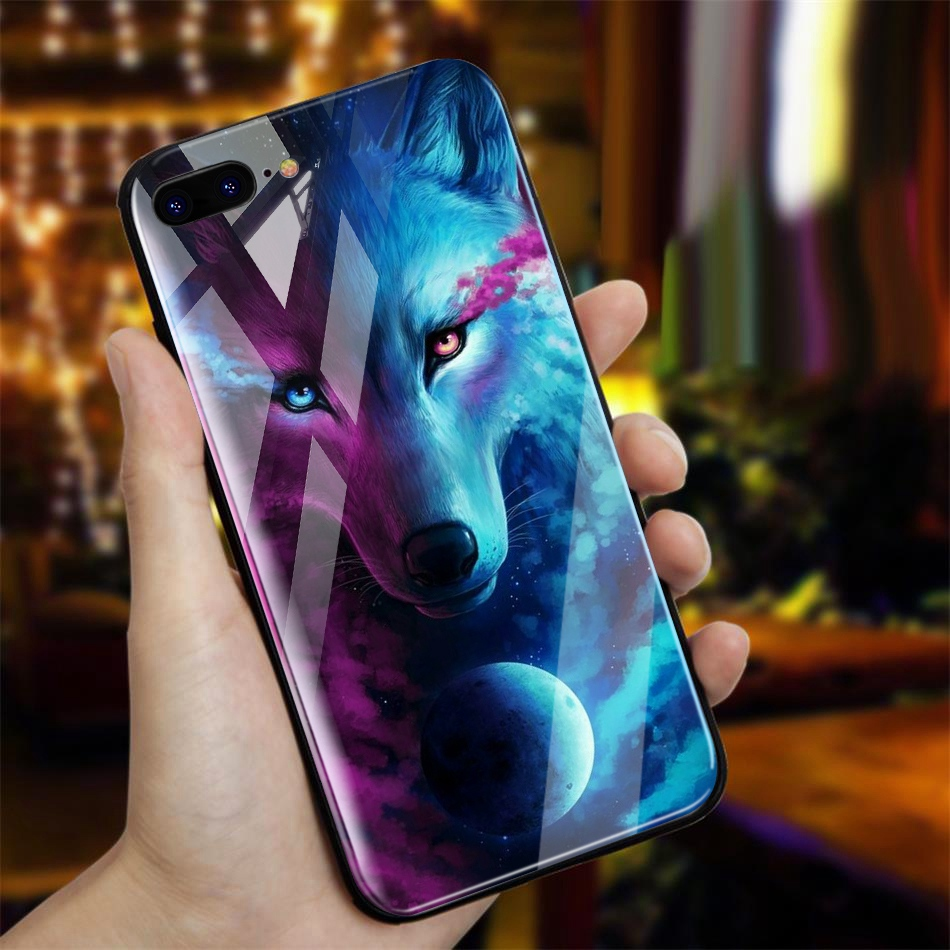 TOMKAS Animal Glass Case For iPhone X 8 7 10 6 Cover Phone Cases For iPhone X 7 8 6 6s Plus Case Luxury Cute TPU PC Covers Coque (2)