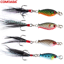 1 pcs 3.2cm/4.7g Small Minnow Metal Fishing Wobblers Crankbait Lure 3d Eyes Baits Artificial Bait With Feather Fishing Tackle(China)