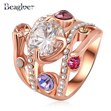 Beagloer Fashion Star Ring Two-Tone Design Star Of Hope Ring With Genuine AAA Austrian Crystals SWA Elements Ri-HQ0051