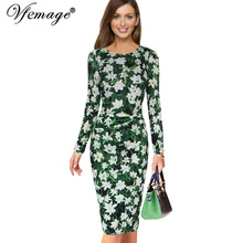 Vfemage Womens Elegant Ruffles Ruched Draped Vintage Floral Flower Print Casual Party Cocktail Bodycon Pencil Sheath Dress 6337(China)
