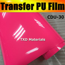 Premium quality NEON PINK CDU-30 Closing PU transfer heat film for cutter plotter using with size:0.5x25m/roll by free shipping
