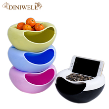 DINIWELL Plastic Food Snack Storage Box Office Desktop Double-layer Circular Melon Seeds Fruits Organizer Mobile Phone Holder