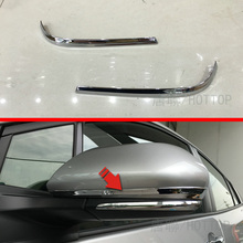 For Toyota Prius 2016 2017 Door mirror trims Rearview Mirror Strip Cover Car Rearview Mirror Decorative ABS Chrome Trim 2pcs