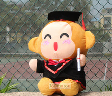 about 20 cm bachelor gown monkey plush toy Doctorial hat monkey doll toy souvenir gift graduation present w6412(China)
