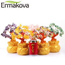 ERMAKOVA 7 Inch Tall Crystal Lucky Money Tree Figurine Feng Shui for Wealth and Luck Home Office Decor Birthday Gift(China)