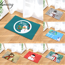 Homing Durable Entrance Door Mats Cartoon Cute Smiling Christmas Snowman Rug Water Absorption Bathroom Door Mat Home Decor Craft(China)