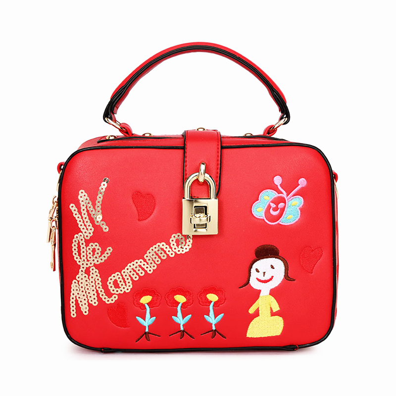 2018 New Embroidery Sequins Women Bag Doctor Small Women leather handbags Sweet Women Clutch Lock Women Messenger Bags tote bag<br>