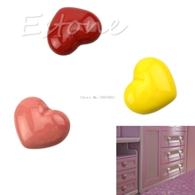 Heart Shape Ceramic Door Knobs Cabinet Drawer Cupboard Furniture Pull Handle Nice Gifts -B119
