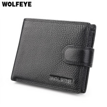 Black Litchi Pattern Real Genuine Leather Wallets Men ID Documents Credit Card Holder Purses Portomonee Portefeuille Carteras(China)