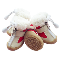Dog Shoes Winter Warm Snow Boots Anti-skidding Pet Shoes For Small Dogs Chihuahua Teddy Puppy Cat Shoes Non-Slip Soles 4pcs/set(China)
