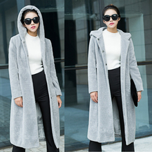 X-long women Artificial fur coat imitation sheep shearing slim long hooded faux fur jacket grey color Windbreaker S-XL