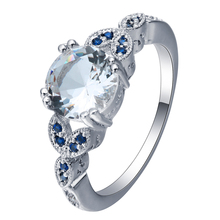 New Collection Butterfly Royal Blue Zircon mixed white silver plated Brilliant Stackable Ring Clear CZ Ring Fine Jewelry Anillos