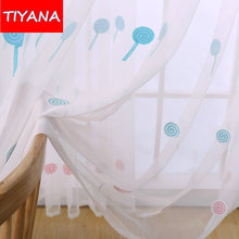 Embroidered Pink Lollipop Cartoon Sheer Curtains For Living Room Colorful Circles White Tulle For Kids Bedroom Balcony AG039&2