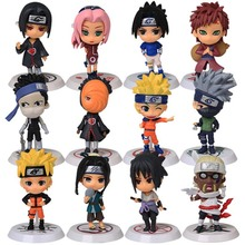 "Anime Naruto Action Figure toys 3"" Q Version Naruto PVC Figures Model Collection 12pcs Full Set Free Shipping(China)"