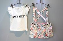 summer 2016 new childrens clothing set girl's blouse Love printed shirt  suspender skirt 2 overalls baby girls clothes suit set