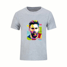 Lionel Messi Shirts Barcelona Men's Short sleeve Messi T-shirts 100% cotton tshirt Tops Argentina jersey for fans tee shirt(China)