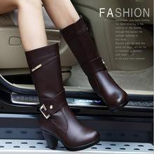 2017 autumn and winter female shoes fashion thick Genuine Leather Women boots winter boots mid calf half knee high boots