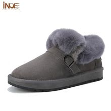 INOE 2018 Genuine Leather Sheepskin Lined Boots Womens Real Wool Winter Short Grey Ankle Boots Bootie For Women Ladies Shoes