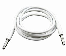High Quality White 3.5mm To 3.5 mm Car Aux Audio Cable For iphone ipod ipad mp3 mp4 phone