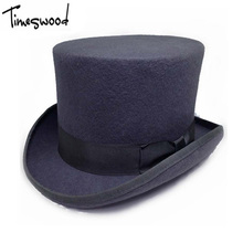 13.5cm Height Black Red Gray Wool Top Hat Men Women Chapeau Fedora Magician Felt Vintage Party Church Hats S M L XL(China)