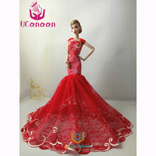 Not Contain Doll ! Ucanaan 1 PC Fishtail Wedding Party Dress For Barbie Doll Limited Collection Elegant Handmade Dress Gift DIY