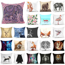 Hyha Bohenian Elephant Polyester Cushion Cover Flamingo Fox Deer Animal Home Decorative Pillows Cover Geometry Rock Harry Potter