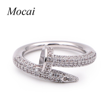 Fashion Nail Rings Simple Brand Designer Gold Color Micro Pave Zircon Nails Wedding Ring Women Jewelry ZK20(China)