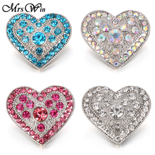 10pcs/lot Mrs Win Snap Jewelry Pink Rhinestone Love Heart Snap Fit Snap bracelet buttons bangles