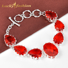 new desgin hot sale red created Stone chain bracelets for women silver plated jewelry