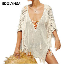 2017 Summer Sexy Hollow Out Pink Beach Dress Plus Size Women Fashion Short Dress V-neck Crochet Casual Beach Sarongs  #U195