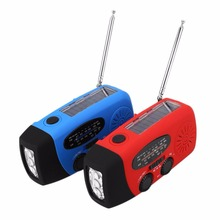 Portable Solar Charger Dynamo Hand Crank Powered AM/FM/WB Radio LED Flashlight Cell Phone Charger Blue Red