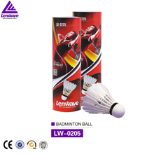 5 pieces / piece Lenwave wholesale white badminton free shipping natural feathers hard foam badminton six loaded(China)