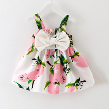 2017 new Knee-length Sleeveless Bow Cute New Baby Dress Girls Clothes Slip Infant Girl Dresses For Princess Birthday Sale Hot(China)