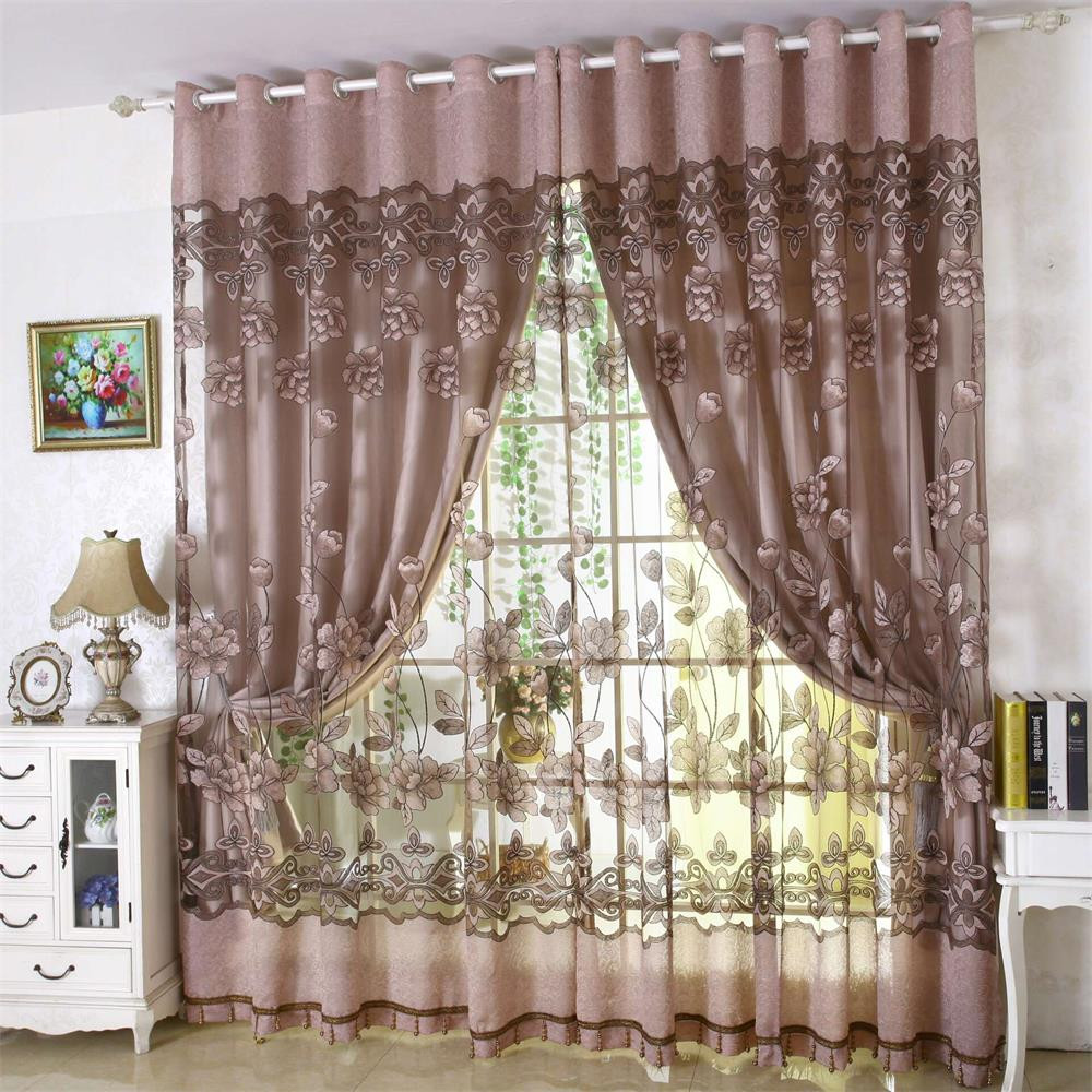 Voile Curtain Valance Drape Fabric-Leaves Tulle Window Treatments Living-Room 1-Panel title=