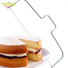Delidge 1pc Adjustable Cake Slicer Wire Leveler 32 cm Stainless Steel Pastry Delaminator Cake Bread Cutter Pizza Dough