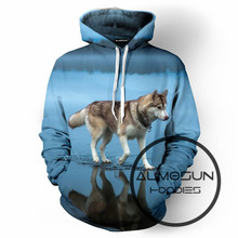 ALMOSUN Dog on The Lake Farm Shark 3D All Over Print Pullover Hoodies Hip Hop Hipster Jumper Men Women