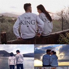 The King and His Queen Love Matching Men Women Sweatshirts Couple Hoodies Tops Lovers Clothes Casual O-neck Tops(China)