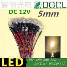 100pcs 12V/24V Pre-wired 5mm Bright LEDs Bulb Warm white/Red/Green/Blue/Yellow/White/Pink 20cm Prewired LED Lamp LED LIGHTING