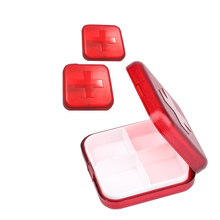 Red 4 Slots Pillbox Weekly Travel Pill Case Organizer Medicine Box Drugs Pill Container