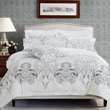 Floral leaf print bed linen white color hotel bedding set twin queen king size bedclothes modern style duvet cover bed sheet set