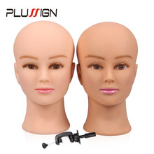 Rubber Female Mannequin Head and Clamp For Wigs Professional Cosmetology Bald Mannequin Head For Making Wigs With Stand(China)